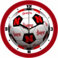 Nebraska Cornhuskers Soccer Wall Clock