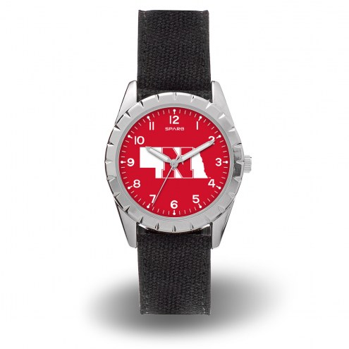 Nebraska Cornhuskers Sparo Men's Nickel Watch