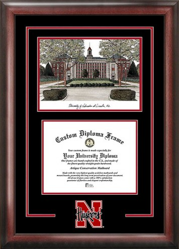 Nebraska Cornhuskers Spirit Diploma Frame with Campus Image
