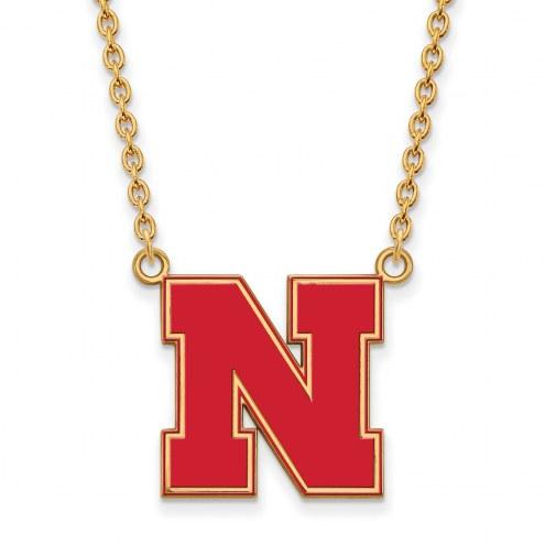 Nebraska Cornhuskers Sterling Silver Gold Plated Large Enameled Pendant Necklace