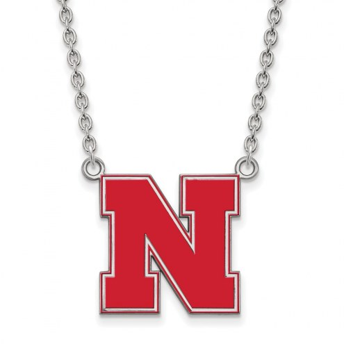 Nebraska Cornhuskers Sterling Silver Large Enameled Pendant Necklace