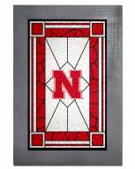 Nebraska Cornhuskers Stained Glass with Frame