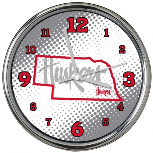 Nebraska Cornhuskers State of Mind Chrome Clock