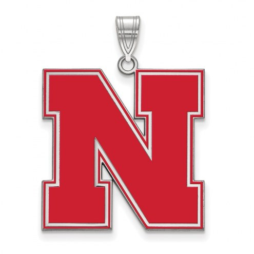 Nebraska Cornhuskers Sterling Silver Extra Large Enameled Pendant