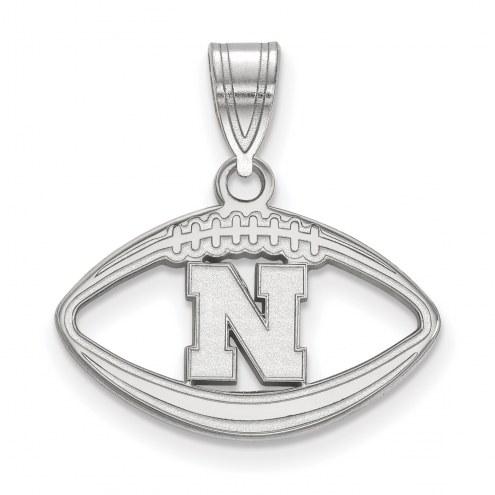 Nebraska Cornhuskers Sterling Silver Football Pendant