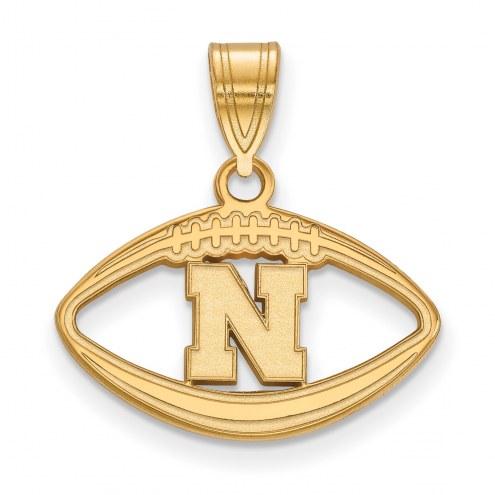 Nebraska Cornhuskers Sterling Silver Gold Plated Football Pendant