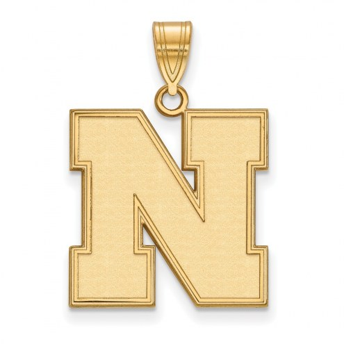 Nebraska Cornhuskers Sterling Silver Gold Plated Large Pendant