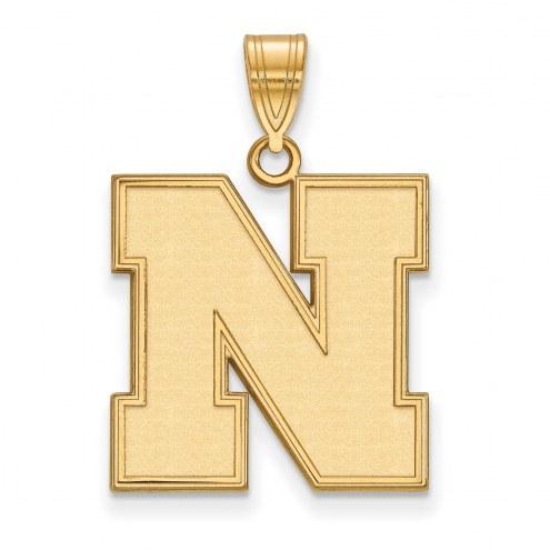 Nebraska Cornhuskers Sterling Silver Gold Plated Large Pendant