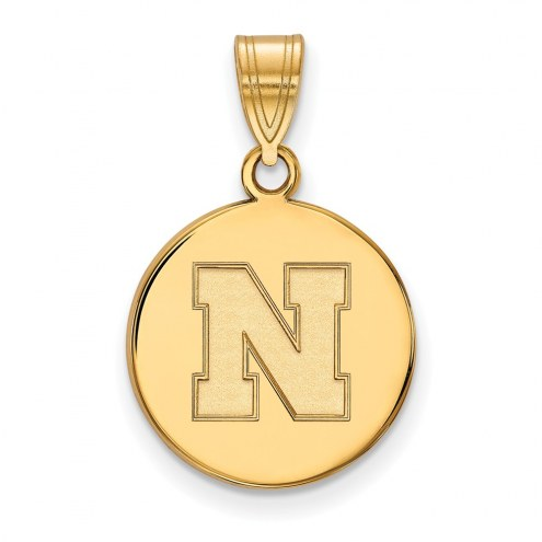 Nebraska Cornhuskers Sterling Silver Gold Plated Medium Disc Pendant