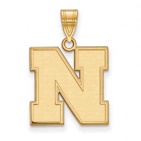 Nebraska Cornhuskers Sterling Silver Gold Plated Medium Pendant