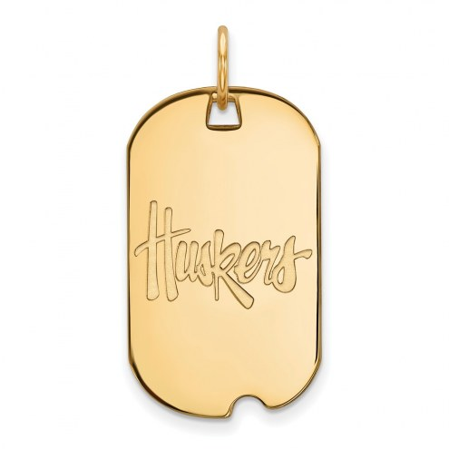 Nebraska Cornhuskers Sterling Silver Gold Plated Small Dog Tag