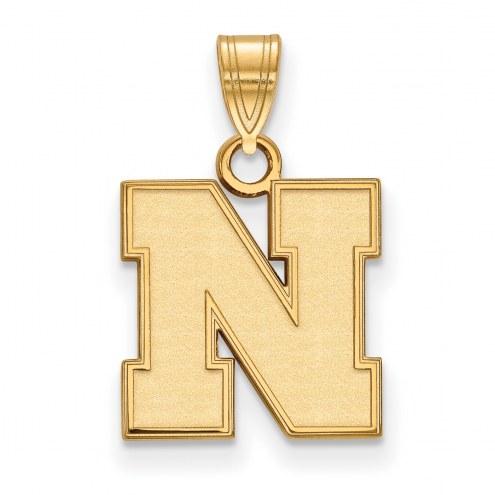 Nebraska Cornhuskers Sterling Silver Gold Plated Small Pendant