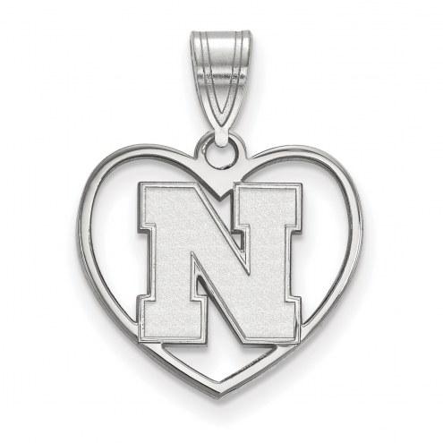 Nebraska Cornhuskers Sterling Silver Heart Pendant