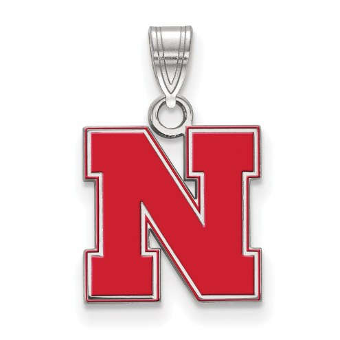 Nebraska Cornhuskers Sterling Silver Small Enamel Pendant