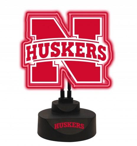 Nebraska Cornhuskers Team Logo Neon Light