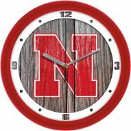 Nebraska Cornhuskers Weathered Wall Clock