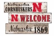 Nebraska Cornhuskers Welcome 3 Plank Sign