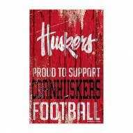 Nebraska Cornhuskers Proud to Support Wood Sign