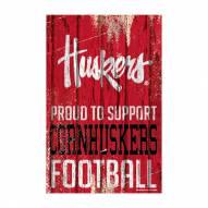 Nebraska Cornhuskers Proud to Support Wood Sign