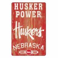 Nebraska Cornhuskers Slogan Wood Sign