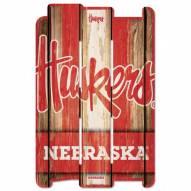 Nebraska Cornhuskers Wood Fence Sign