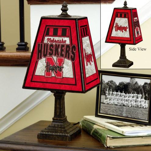 Nebraska Cornhuskers NCAA Hand-Painted Art Glass Table Lamp