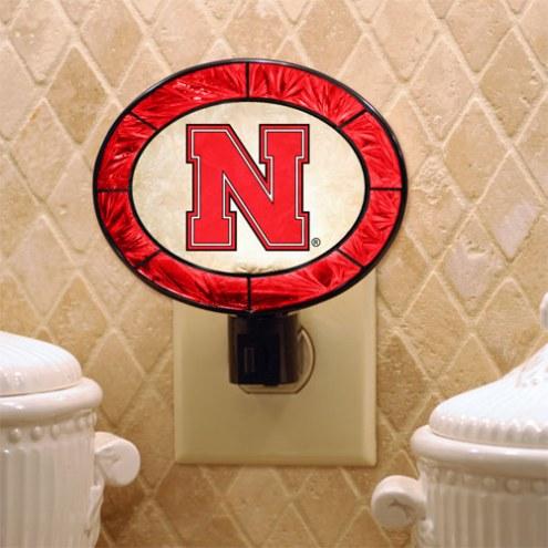 Nebraska Cornhuskers NCAA Stained Glass Night Light