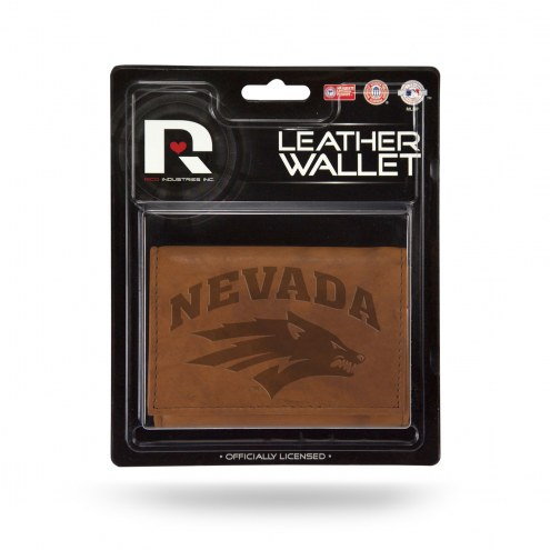 Nevada Wolf Pack Brown Leather Trifold Wallet