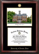 Nevada Wolf Pack Gold Embossed Diploma Frame with Campus Images Lithograph