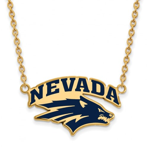 Nevada Wolf Pack Sterling Silver Gold Plated Large Enameled Pendant Necklace