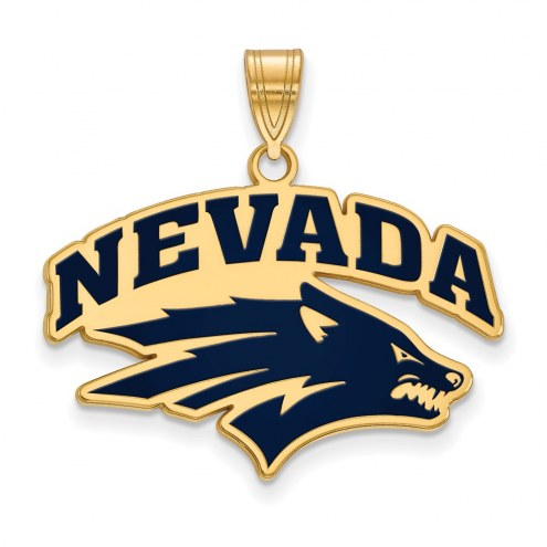 Nevada Wolf Pack Sterling Silver Gold Plated Large Enameled Pendant