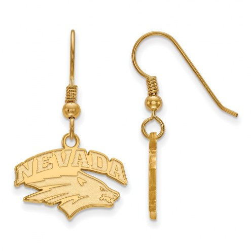 Nevada Wolf Pack Sterling Silver Gold Plated Small Dangle Earrings