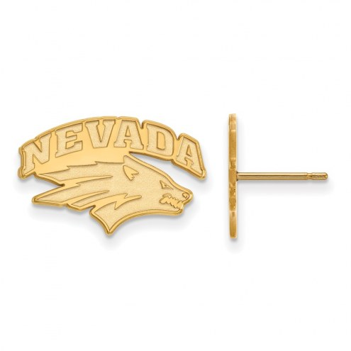Nevada Wolf Pack Sterling Silver Gold Plated Small Post Earrings