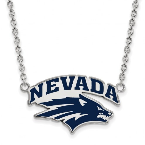 Nevada Wolf Pack Sterling Silver Large Enameled Pendant Necklace