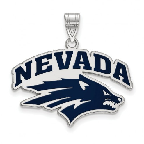 Nevada Wolf Pack Sterling Silver Large Enameled Pendant