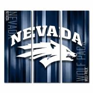 Nevada Wolf Pack Triptych Rush Canvas Wall Art