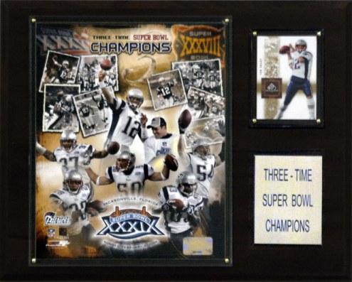 """New England Patriots 12"""" x 15"""" Super Bowl Champions Plaque"""