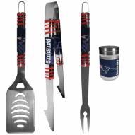 New England Patriots 3 Piece Tailgater BBQ Set and Season Shaker