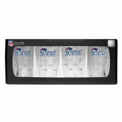 New England Patriots 4 Pack Pint Glass Set