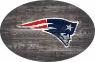 "New England Patriots 46"" Distressed Wood Oval Sign"