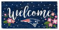 "New England Patriots 6"" x 12"" Floral Welcome Sign"