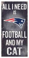 "New England Patriots 6"" x 12"" Football & My Cat Sign"