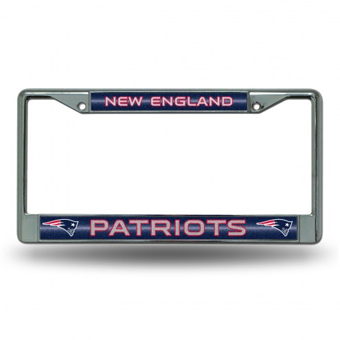New England Patriots Chrome Glitter License Plate Frame