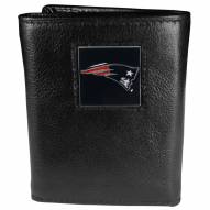 New England Patriots Deluxe Leather Tri-fold Wallet in Gift Box