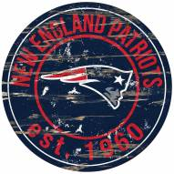 New England Patriots Distressed Round Sign