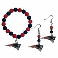New England Patriots Fan Bead Earrings & Bracelet Set