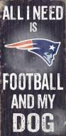 New England Patriots Football & Dog Wood Sign