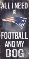 New England Patriots Football & Dog Wood Sign