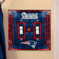 New England Patriots Glass Double Switch Plate Cover
