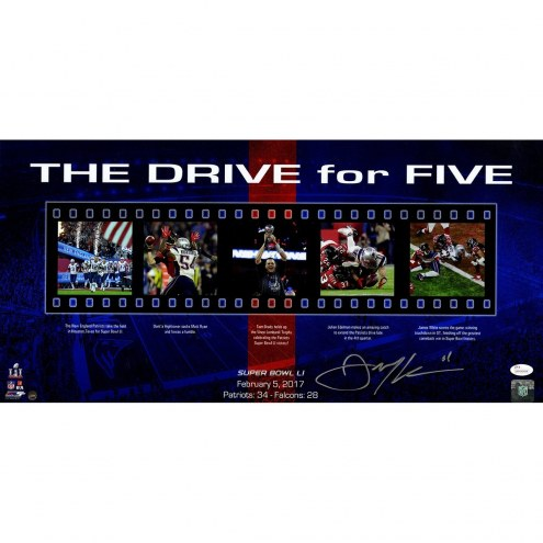 New England Patriots Julian Edelman Signed Super Bowl 51 Drive for Five 12 x 24 Collage Photo